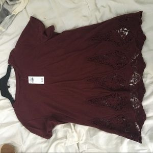 NWT maroon lace detailed top